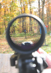 Through vantage point of Bushnell Elite Tactical SMRS dialed to 1X, it's easy to superimpose reticle on this 25-yard target and pull the trigger. The SMRS was mounted in LaRue SPR 1.5 QD rings.