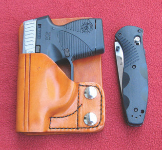 738 TCP is a concealed carry gem. Stickopauli wallet holster is a favorite method of carry. Companion folder is Benchmade 580 Barrage.
