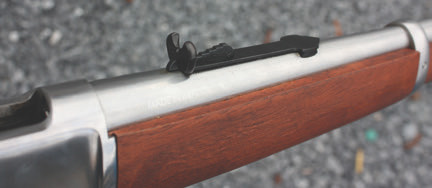 """Rossi M92 is equipped with sturdy adjustable iron sights—classic """"buckhorn"""" rear ladder style combined with extended front bead."""