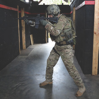 Author has his nonfiring leg out double the distance, with slight bend at the waist. This gives him a steady base, naturally aligns his shoulders behind the rifle, and absorbs recoil better to drive the gun on target.