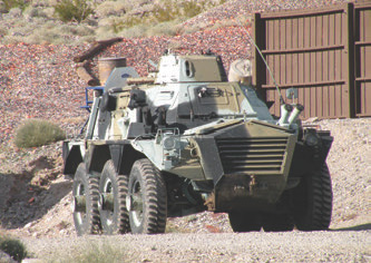 Wheeled armored vehicles that will be used for training.