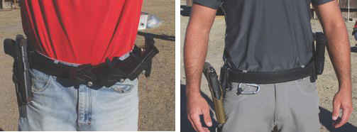 Gross difference in magazine placement from a competition setup … to a duty or carry setup (right).