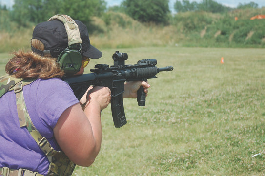 New shooter Jaime Tebbe came to class for the first time with an M&P15 and had difficulty. We loaned her an M&P15-22 and she immediately started having fun, which is an important part of learning.