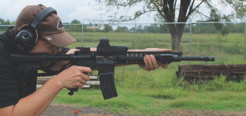 Author running sights down and EOTech turned off during target focus drill.
