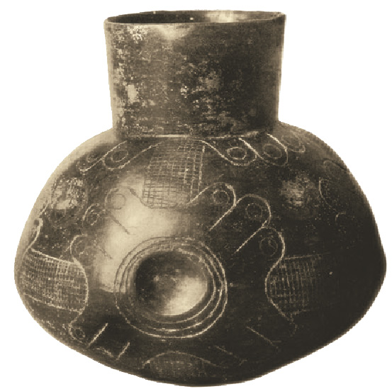 "Mississippian Culture pot from AD 800-1600 shows burnished surface. Rubbing still-damp surface with smooth object fills in pores, making pot more waterproof, and in this case providing a lustrous surface for incised embellishment. Mississippian Cultures often ""tempered"" their clay with ground mussel shells to help prevent shrinking or cracking during drying and firing. Photo: C.B. Moore, via Wikipedia"