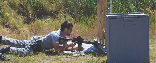 Protruding muzzle through shooting hole makes transitioning to next position much more difficult. Shooter now has to shift his entire body back to clear the muzzle for swinging to the next hole.
