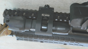 Elzetta ZFL-M60 light in Elzetta ZORM mount on Kel-Tec KSG. Offset mount places light close to the bore at 11 o'clock.