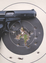 CZ 82's polygonal rifled barrel threw all loads directly to the sights and tight, as this pistol qual target with 40 rounds shows. Groups at 25 yards ran as little as two inches standing.