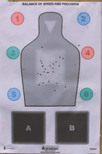 Author's target from first range drill without using optic or sights.