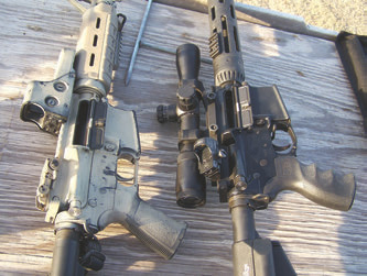 More simplistic duty platform on left utilizes holographic sight, standard trigger, and backup iron sights. More complicated competition platform on right utilizes variablepower rifle scope, canted red dot sight, bolt release lever, and match trigger system.