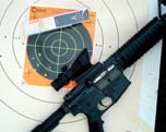 One-hundred yard group fired during zeroing process is fairly typical of Colt/ Umarex's accuracy.