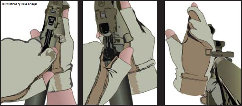 (LEFT)- Rabbit Ear is the legacy method of operating the charging handle. It requires moving the shooting hand from the pistol grip. It is slow, inefficient and outdated.  (MIDDLE)- Pinch/Claw is one way of manipulating the charging handle using the support side hand. With fingers of the left hand facing forward, make a claw. Pinch the CH with the index finger and thumb, disengaging the latch.