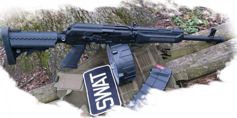 Krebs Custom Saiga 12 ready for duty. Shown with AGP's 10-round stick and M-D Arms' new 20-round drum.