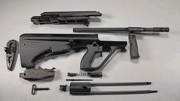 AUG A3 SA disassembled. Photo: Jessie Indracusin