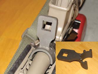 Vltor-supplied one-time-use barrel nut tool is used with torque wrench to tighten barrel nut.