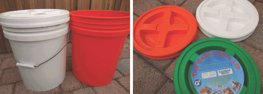 Left: Food storage buckets with lids make excellent inexpensive cache containers. Close off with a standard or easily removable lid. |  Right: Gamma Seal Lid fits any 3.5- to seven-gallon plastic bucket and provides an easy spin-on, spin-off way to seal and reseal your stash.