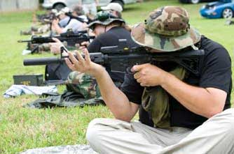 Dry firing while trying out different positions.