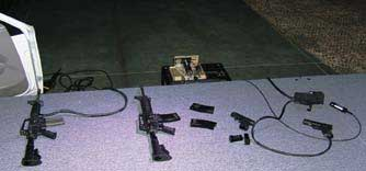 Selection of guns with and without cables.