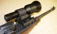 Double Star 45-degree offset light mount with Streamlight Super Tac light on M1 Carbine.