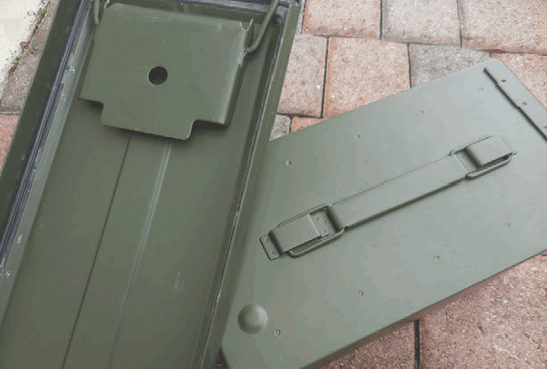 Steel ammo cans are very rugged and a good option for storage in dry conditions. They are usually airtight if seal is still good. Exposure to water and damp conditions may cause corrosion. Inspect seal on inside of lid.