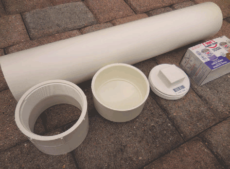 Simple watertight cache container can be easily made from PVC pipe. All individual pieces and parts are available at any home supply or hardware store. Total cost is under $30.