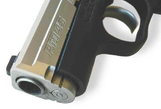 Front of slide is beveled. Entire pistol is dehorned.