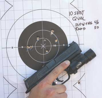 Ten-Shot Qual uses classic B8 25-yard pistol bull. Five shots slow fire at distance and from the holster in 2.5 seconds at five yards stretch shooter's ability at either end of the speed and accuracy spectrums.