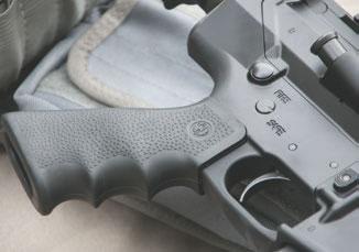 Rifle utilizes Hogue Monogrip pistol grip.
