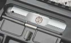 Chrome-plated bolt has laser-engraved Ruger logo.
