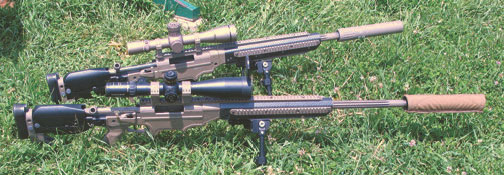 Brace of ASW 20- (top) and 28-inch .338 LM rifles. Both are wearing AAC Titan QD suppressors.