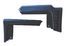 High stock module for use with scope (top) and short module for use with iron sights are both included.
