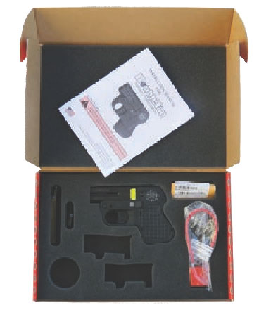 Pistol comes in foam-lined cardboard box with one set of barrels, two- and six-round speed strips, padlock and manual.