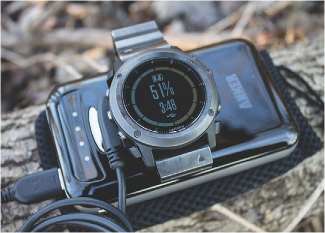 Fenix 3 can be charged in the field with any battery back-up or solar charger utilizing USB ports.