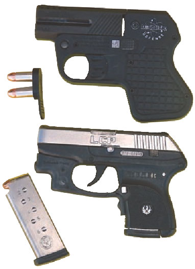 Ruger LCP, even with attached laser, has a smaller footprint than the DoubleTap. Fully loaded and with a reload, Ruger has 13 rounds available. DoubleTap has four.