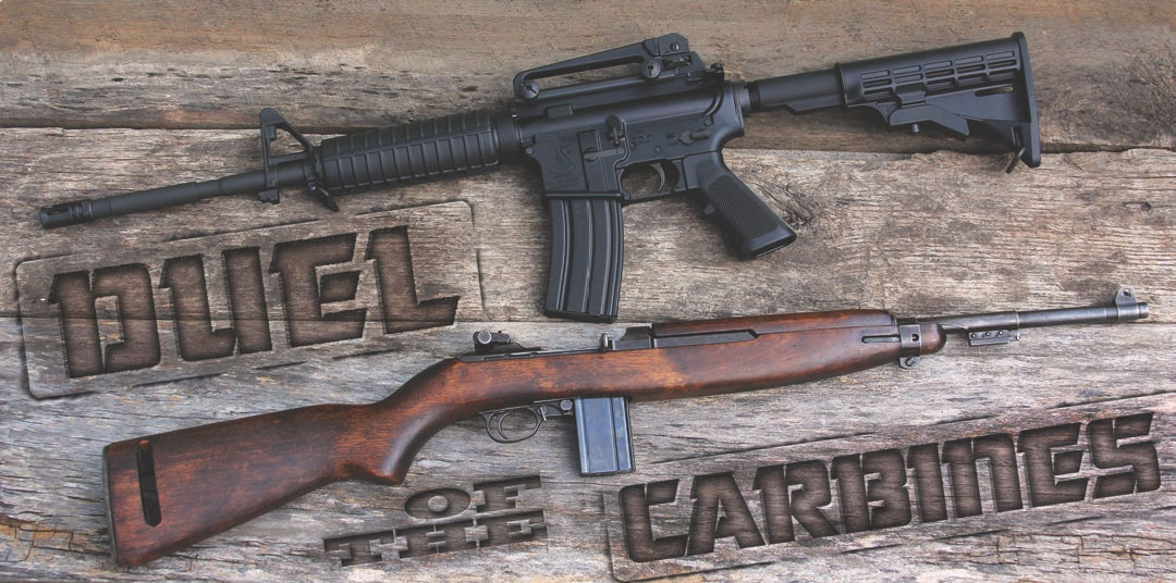 Both long guns are comparable in overall length when AR stock is extended for use. The .30 Carbine maintains a significant weight advantage over even the light M4-style ARs.