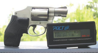 """Crimson Trace Lasergrips-covered backstrap greatly helped recoil control, as did Hornady """"Lite"""" Critical Defense loads. All strings were shot with sights and with laser off."""