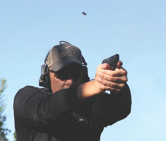 Recovering from recoil in rapid-fire string with Ruger LCP.