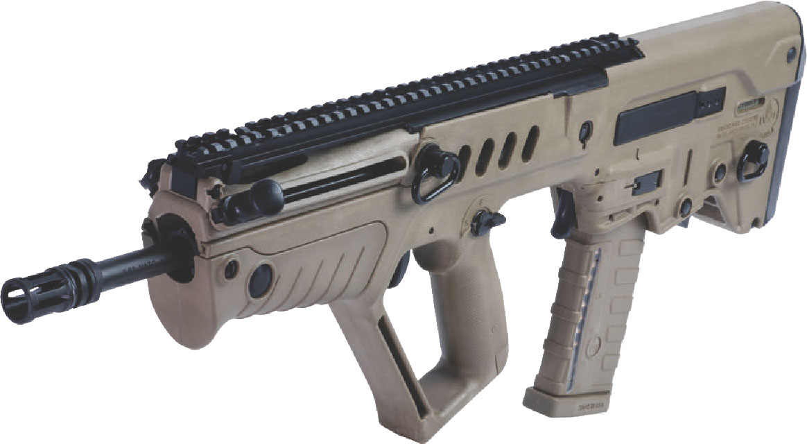Although 16 inches long, barrel extends from handguards only a few inches, including A1-type flash hider.
